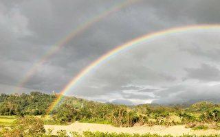 花蓮南區太陽雨中現雙虹 民眾驚喜