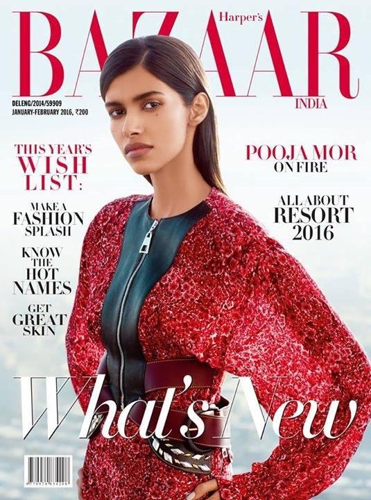 普賈·莫爾(Pooja Mor)2016年春登上《Harper's BAZAAR》雜誌封面。(Pooja Mor/Facebook)