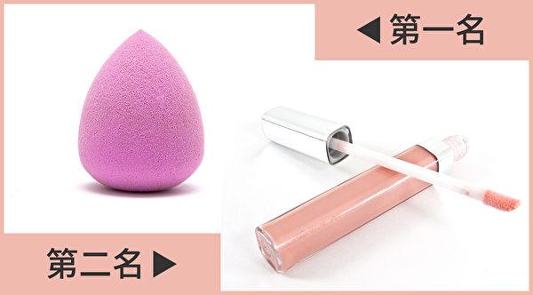 就化妆品的细菌量而言,以美妆蛋最脏,唇蜜排第二。(Shutterstock/大纪元制图)