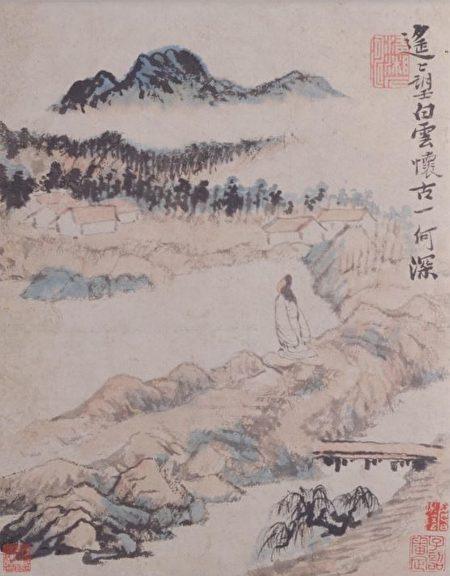 清初画家石涛绘《陶渊明诗意图册》,第六帧:遥遥望白云,怀古一何深。(公有领域)
