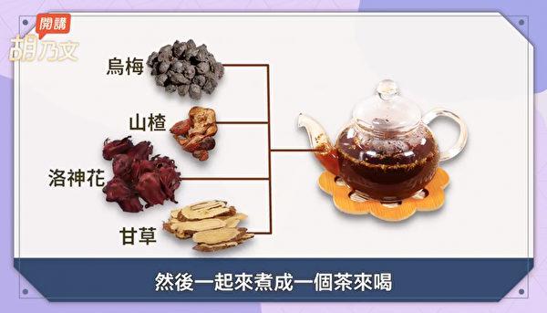 酸梅湯食材是烏梅、山楂、洛神花、甘草,能消脂解膩。(胡乃文開講提供)