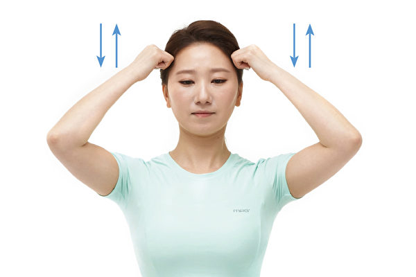顳顎關節、顏面歪斜矯正運動之一:按摩頭皮。(聯經出版提供)