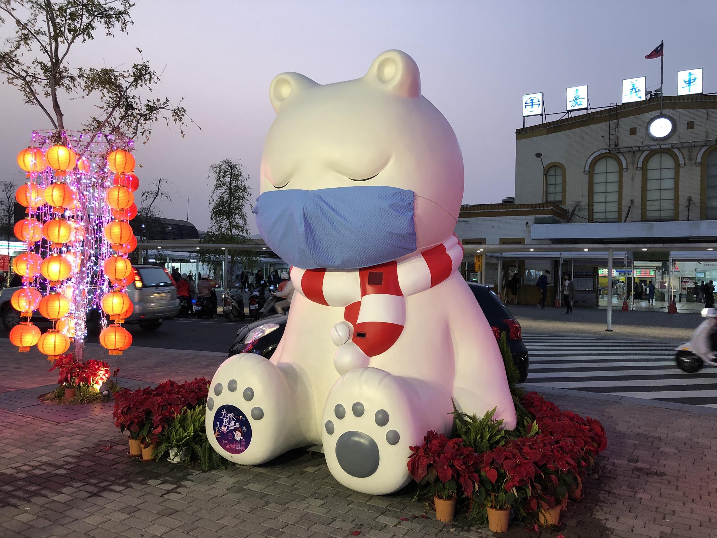 台可愛大白熊戴口罩提醒防疫 獲日本雅虎首頁報道
