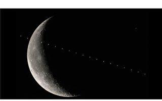 超现实主义般的真实照片:国际空间站掠过月亮