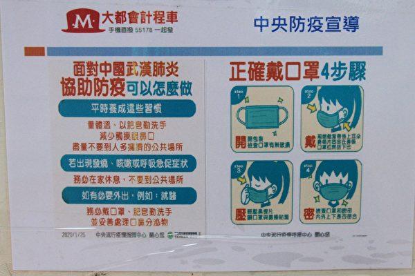 大都會高鐵站計程車站的防疫宣導。