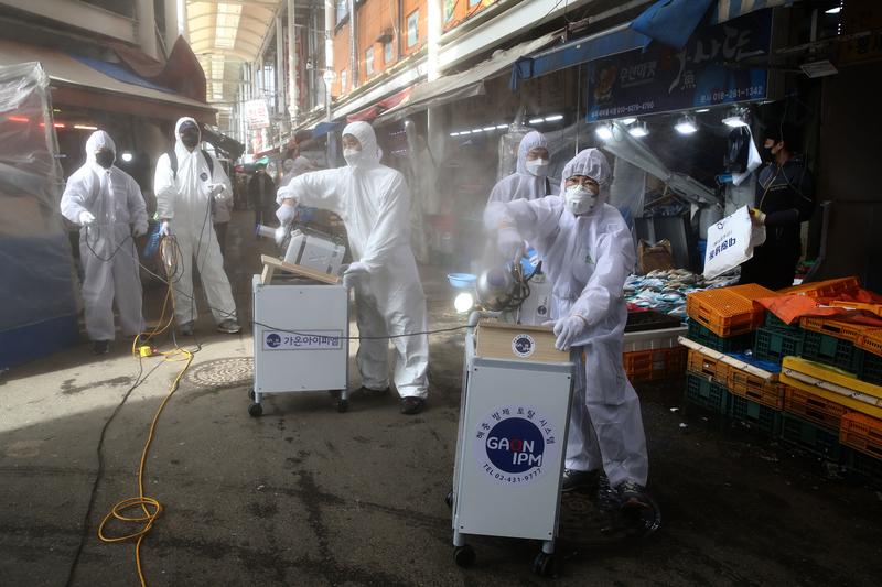 組圖:南韓疫情爆發 多地加強檢疫