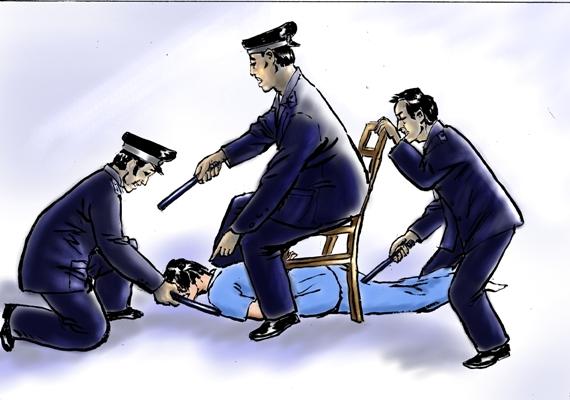 中共酷刑示意圖:電擊。(明慧網)
