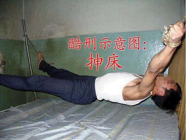 酷刑演示:抻床。(明慧網)