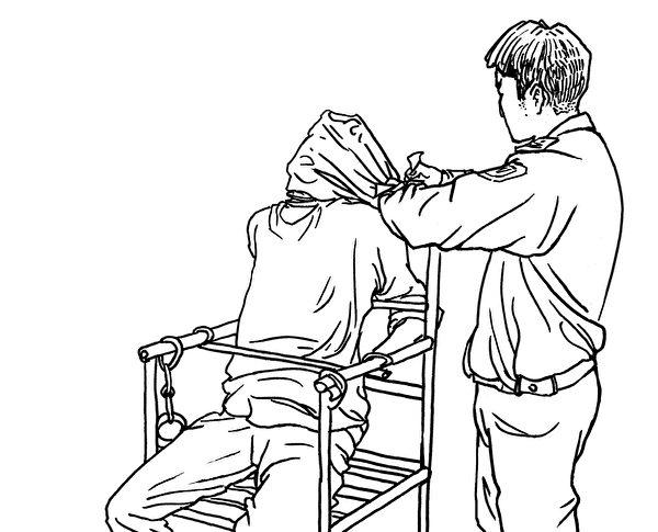 中共酷刑示意圖:窒息。(明慧網)