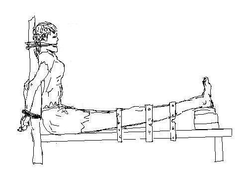 酷刑演示:老虎凳。(明慧網)