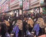 大陆网民爆料辽宁锦州辽西小商品批发市场人群聚集。(视频截图)