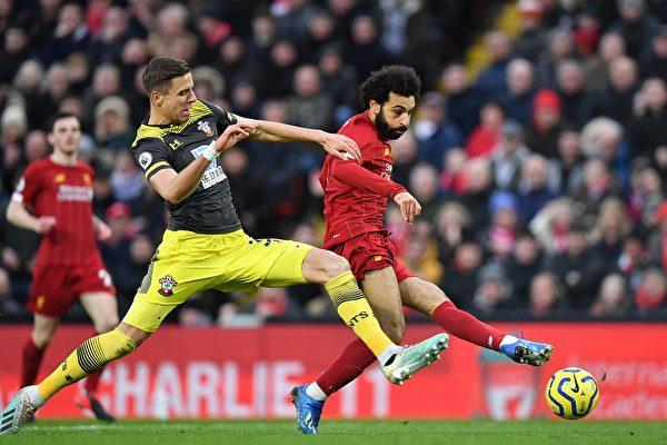 英超第25輪,利物浦主場4:0大勝南安普頓