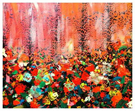 曾日昇心灵画展透过缤纷色彩,不拘泥具体形象的挥洒画风,反映心灵意境、文化,以及对艺术的热情。