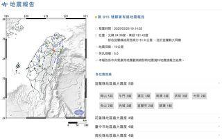 台灣發生規模5.0地震 震央在宜蘭