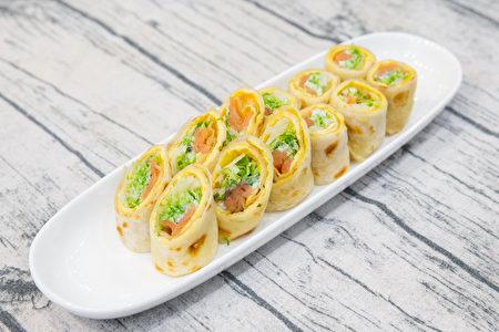 燻鮭魚蔬菜蛋餅。