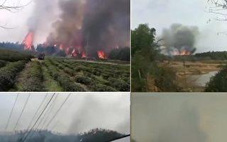 湖北咸寧通城縣北港鎮突發大火。(網路圖片)