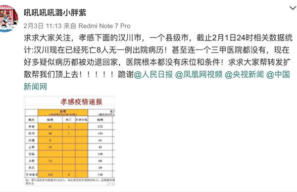 漢川網友發帖求救、呼籲關注。(截圖)