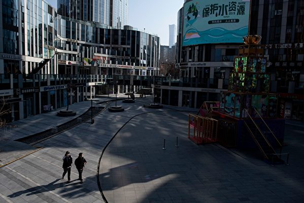 2020年1月29日,北京一商業區空空盪盪。(NOEL CELIS/AFP via Getty Images)
