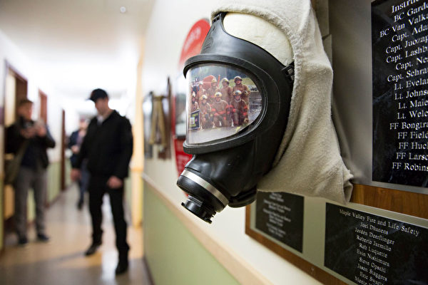 A self-contained breathing apparatus and a photo of recruits is pictured on a plaque inside a Washington State Patrol Fire Training Academy dormitory which has been designated as a 2019 novel coronavirus quarantine site for travelers from Hubei Province, China who have been exposed, are not yet symptomatic and cannot self-quarantine, February 6, 2020 in North Bend, Washington. - The Washington State Patrol Fire Training Academy near North Bend has been chosen as a new quarantine site for people returning to the United States from the Chinese province at the center of the new coronavirus outbreak. (Photo by Jason Redmond / AFP) (Photo by JASON REDMOND/AFP via Getty Images)