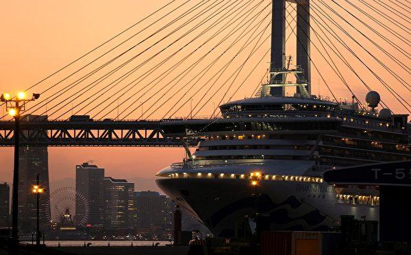 圖為被隔離在日本橫濱港口的「鑽石公主號」(Diamond Princess)遊輪(郵輪)。(攝於2020年2月24日)(Kazuhiro NOGI / AFP)
