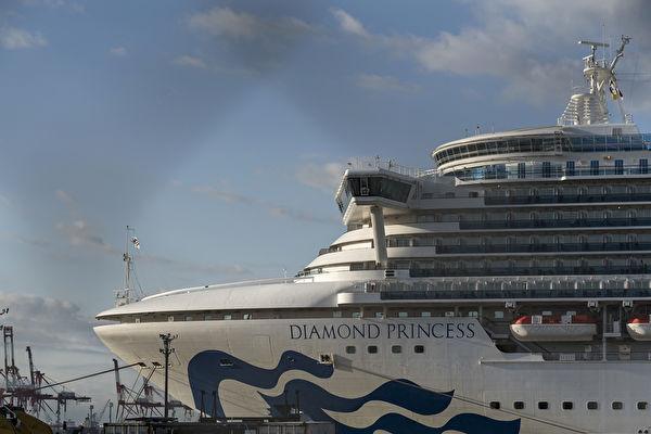 鑽石公主號自2月3日在海上隔離後,截至2月21日,從1人確診激增至634例,約占船員與旅客的1/6,被稱為「海上武漢」。(Tomohiro Ohsumi/Getty Images)