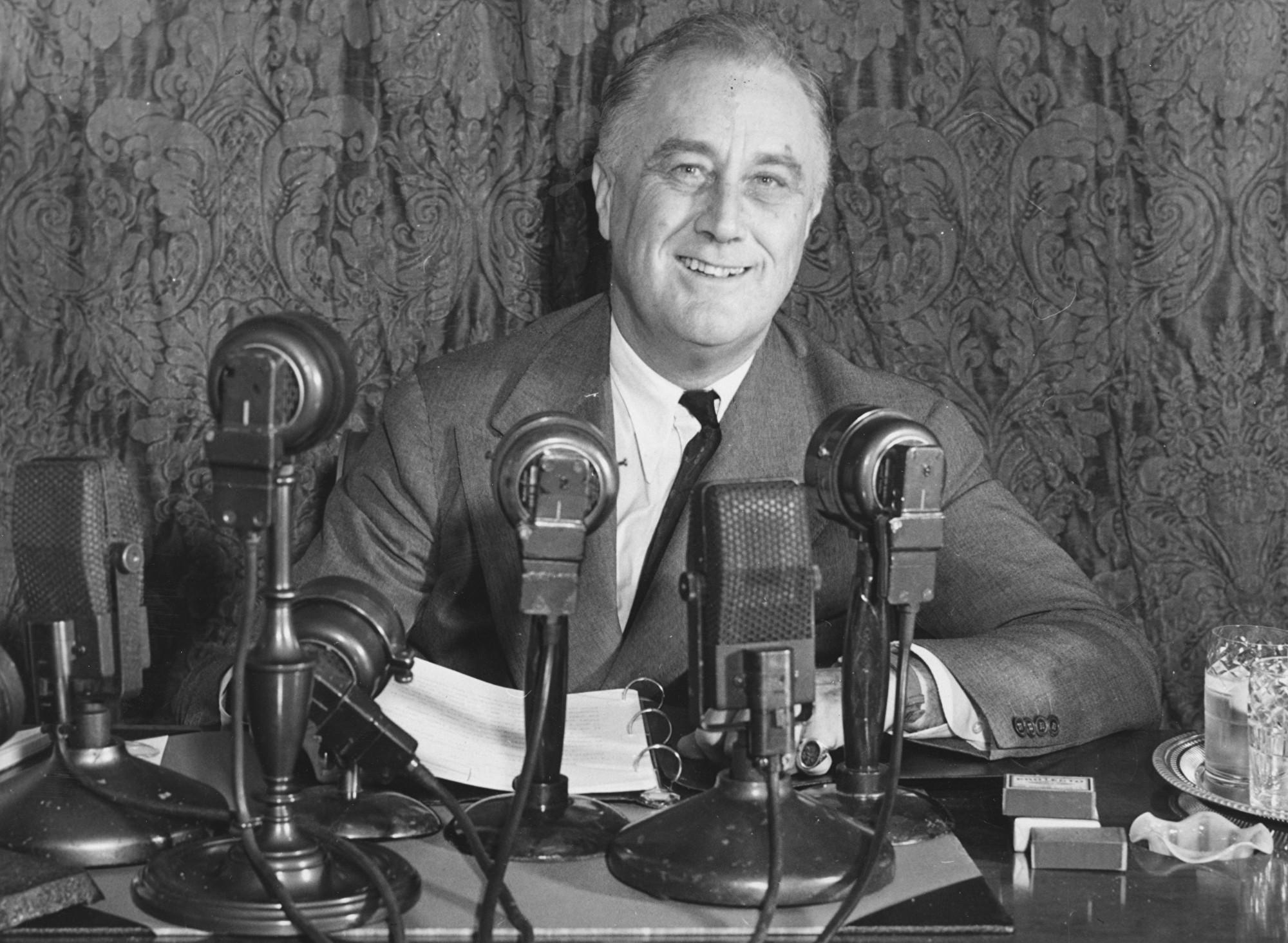 美國前總統羅斯福攝於1938年。(Central Press/Getty Images)