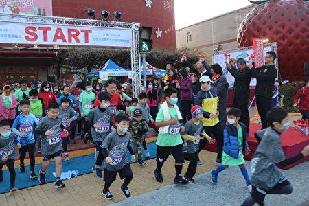大湖草莓嘉年华马拉松,2千多名跑友低温中热情开跑。