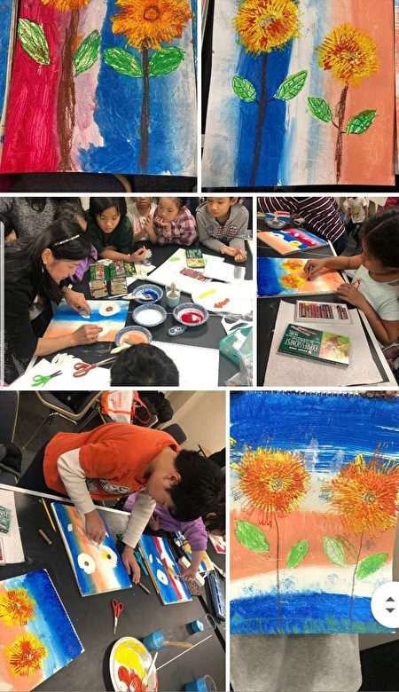 图为儿童参加绘画班的现场情况。
