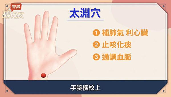 慢性咳嗽可按压太渊穴。太渊穴在大拇指这条线和手腕横纹交汇的地方。(胡乃文开讲提供)