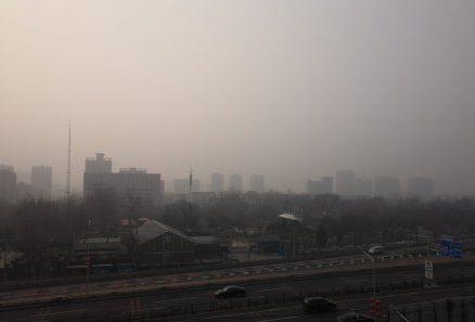 2月13日,北京的陰霾天氣。(網絡圖片)