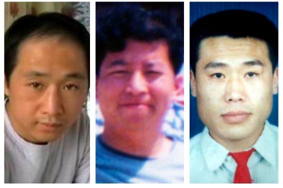 2002年3月5日,參與長春電視插播的法輪功學員雷明、梁振興、劉成軍(從左至右)均被迫害致死。(大紀元合成圖)