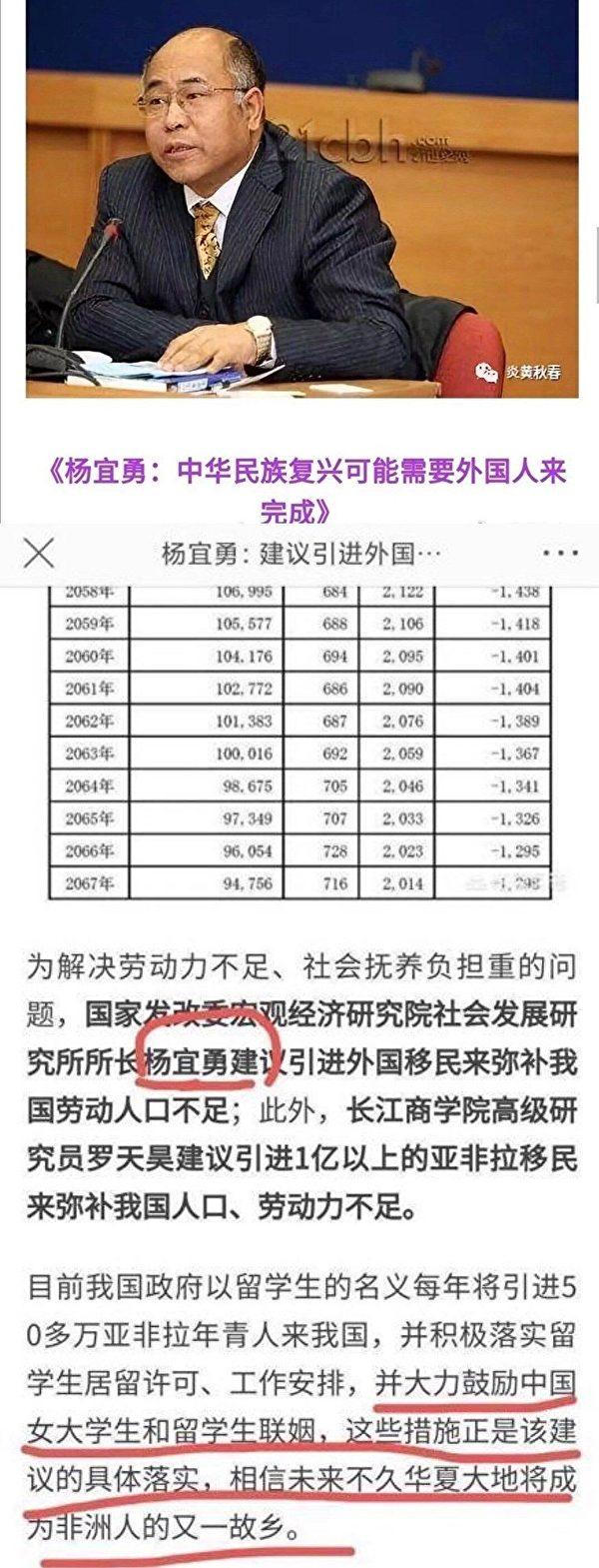 中國社會發展研究所所長楊宜勇也成為網民討伐的對象。(截圖)