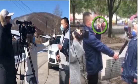今日(3月11日)网络流传两段电视台采访视频,被指中共当局作秀。(视频合成)