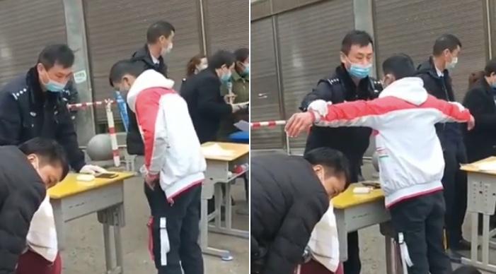 有網傳影片顯示,該省畢節市百納民族中學學生入校登記時,有疑似警察對學生進行搜身。(影片截圖合成)