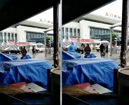 有视频显示,湖北省天门火车站出现重症病人。(视频截图合成)