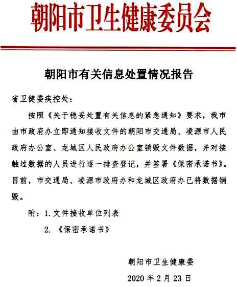 圖2:遼寧省朝陽市衛健委發佈的「銷毀疫情數據」的文件。