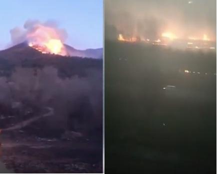 網傳視頻顯示,北京延慶發生山火,河北固安地區一鄉村著火。(視頻截圖合成)