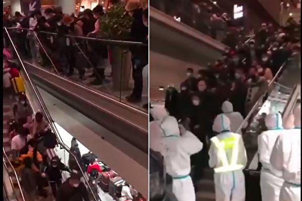 3月16日,北京首都国际机场T3航站楼的D区专区旅客爆满,现场山人海。(视频截图合成)