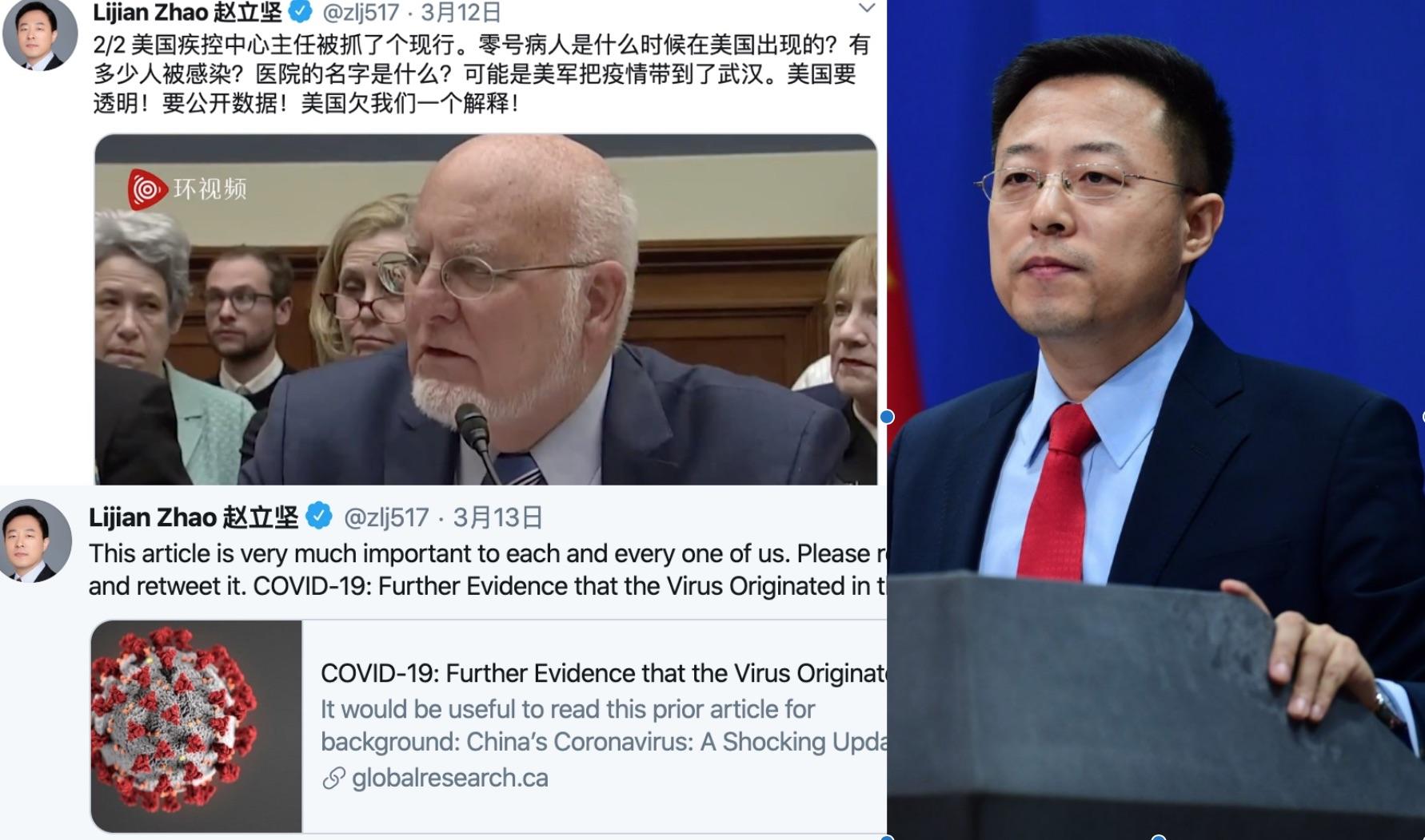 中共外交部發言人趙立堅(右)2020年3月12日連續發5條中英文推文,嫁禍「美軍把疫情帶到武漢」,引起國際社會譁然。(推特截圖)