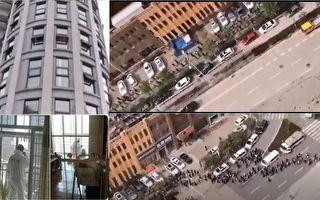 3月10日上午,習近平到訪武漢東湖庭園小區,武漢市民拍下當時場景。另有市民表示自己所在的樓棟都有狙擊手待命。(視頻合成)