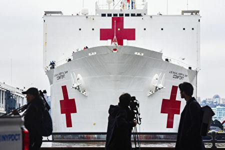 """2020年3月30日,美国海军医疗舰""""舒适号""""抵达纽约。"""