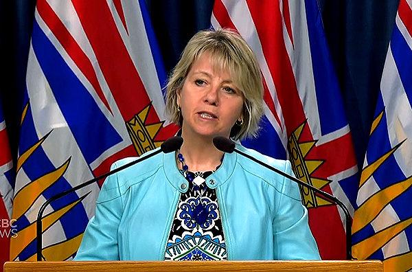 圖:卑詩省衛生官亨利醫師3月28日公布最新的卑詩疫情情況,新增92確診病例與1人死亡。(視頻截圖)