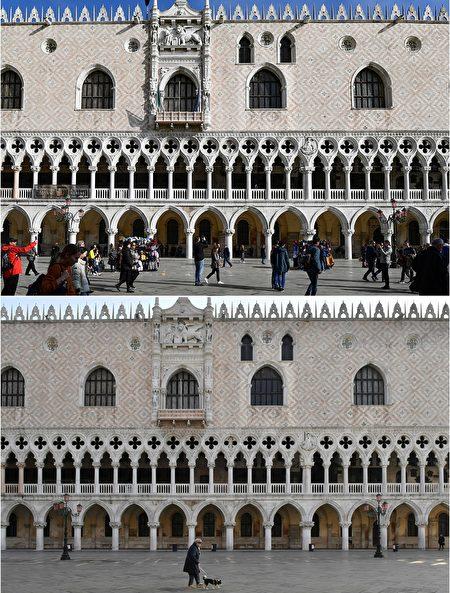 圖片上部為2019年11月4日,聖馬可廣場總督府遊客眾多。圖片下部為2020年3月11日,威尼斯封城後聖馬可廣場總督府一片空寂。(MIGUEL MEDINA,MARCO SABADIN/AFP via Getty Images)