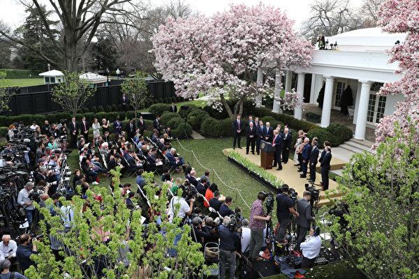 3月13日特朗普在白宮玫瑰花園召開新聞會,宣佈應對中共肺炎疫情最新舉措。(Chip Somodevilla/Getty Images)