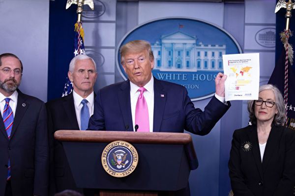 WASHINGTON, DC - FEBRUARY 26: U.S. President Donald Trump speaks at the beginning of a new conference with members of the coronavirus task force, including Vice President Mike Pence in the Brady Press Briefing Room at the White House February 26, 2020 in Washington, DC. Trump updated the American people about what his administration's 'whole of government' response to the global coronavirus outbreak. (Photo by Tasos Katopodis/Getty Images)