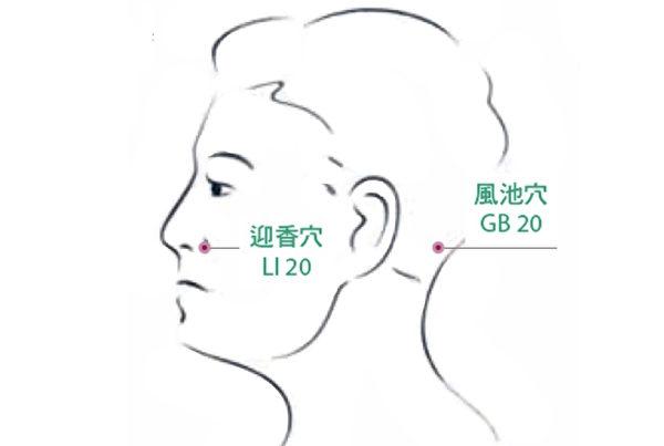 用配好的精油涂在穴位上,可以改善鼻塞。(采实文化提供)