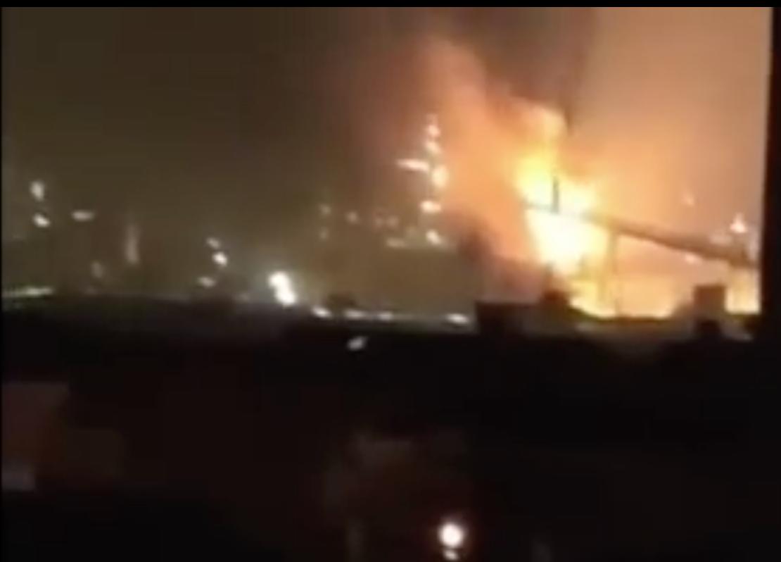 上海寶鋼廠區發生爆炸。(影片截圖)