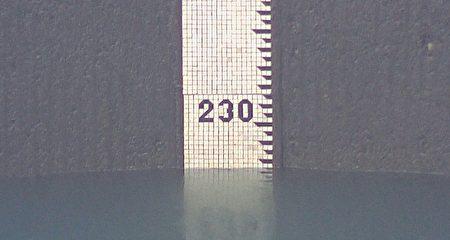 石門水庫上周水位一度跌到230公尺以下。