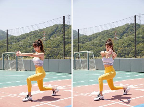 高強度間歇訓練HIIT之三:20秒弓箭步轉體與10秒原地踏步。(采實文化提供)