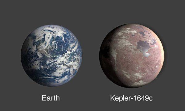 開普勒1649c的半徑為地球的1.06倍。照片為地球與開普勒1649c的比較圖。(NASA/Ames Research Center/Daniel Rutter)